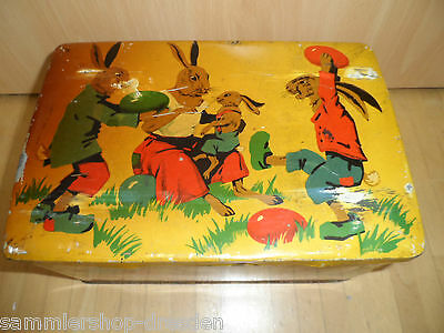 19655 antike Blechdose Ostern 1910 Litho happy easter rabbits vin tin chicken