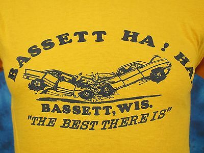 vintage 70s BASSETT WISCONSIN DRAG RACING T-Shirt XS/SMALL muscle car thin 80s