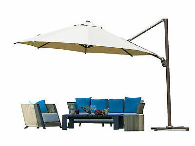 11 Ft Octagon Cantilever Offset Patio Umbrella W/ Cross Base And Umbrella  Cover