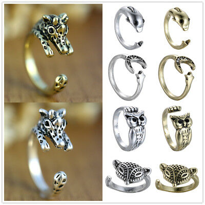 Fashion Punk Retro Animal Pet Silver/Bronze Crystal Adjustable unisex Wrap Rings