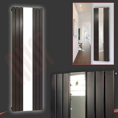 "610mm(w) x 1800mm(h) ""Corwen"" Mirror Black Designer Vertical Radiator 4042 BTU"