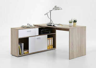 schreibtisch eckschreibtisch winkelschreibtisch sandeiche nb hochglanz wei eur 159 00. Black Bedroom Furniture Sets. Home Design Ideas