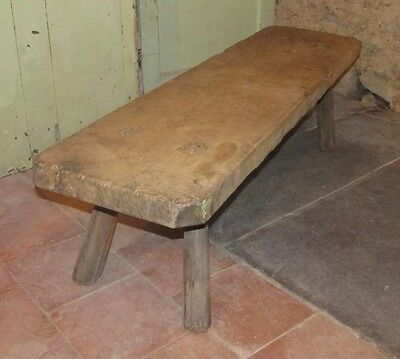 "Old Bench Folk Furniture Elm Vintage Antique 50"" long"