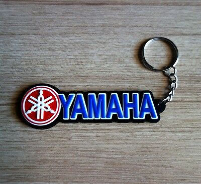 YAMAHA Keychain Keyring Blue Black Rubber Motorcycle Racing Collectible Gift New