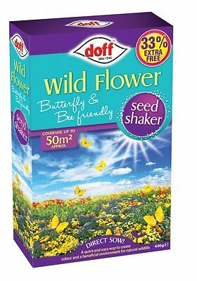 Doff Wild Flower Seed Shaker Butterfly & Bee Friendly Mix 400g Direct Sow