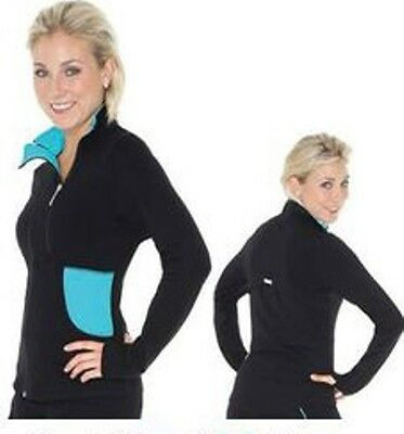 New Mondor 4804 Supplex Double Zipper Ice Skating Dress Jacket - Black with AQUA