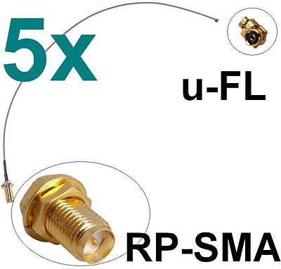 5x Antennen Adapter Kabel RP-SMA u-FL Wlan Stück Speedport Fritz!Box Pigtail IPX
