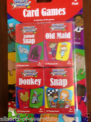 Set of 4 traditional card games snap old maid donkey animal 2 players fun