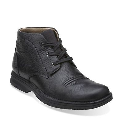 Clarks Men's Senner Drive Oxford Black Tumbled Leather Ankle Boots 26067548