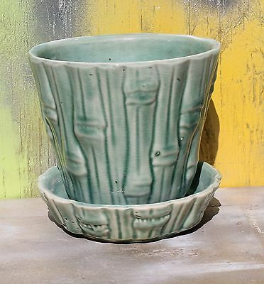 Vintage McCoy Brush Green Bamboo Pottery Planter Pot