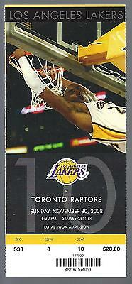 2008-09 Nba Raptors @ Lakers Full Unused Basketball Ticket - Kobe Bryant Photo