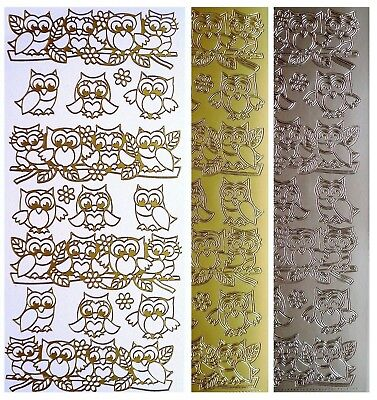 OWLS Peel Off Stickers Woodland Birds Branch Flowers Card Making Gold or Silver
