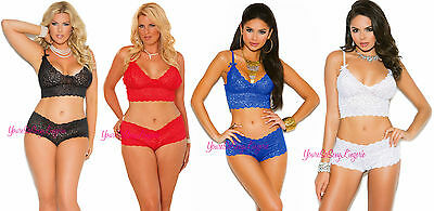 Plus Size Stretch Lace CAMISOL SET Crop Top + BOOTY SHORTS 10% SPANDEX 1x-5x