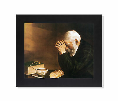 Daily Bread Man Praying at Table Grace Religious Wall Picture Black Framed