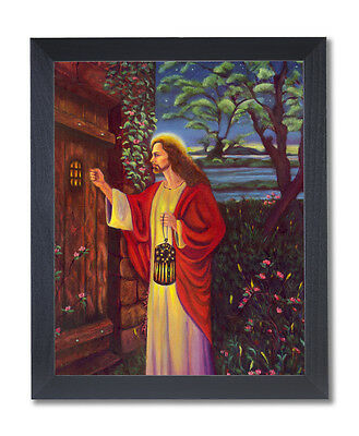 Jesus Christ Knocking At Door Religious Wall Picture Black Framed Art Print