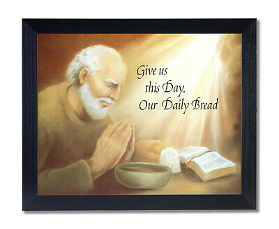 Old Man Praying At Dinner Table Religious Wall Picture Black Framed Art Print