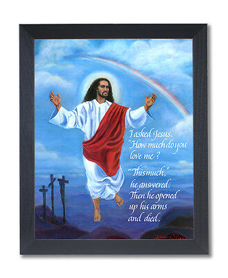 Jesus Christ Open Arms Heaven Religious Wall Picture Black Framed Art Print