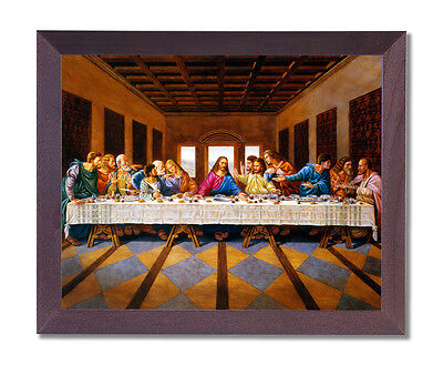 Jesus Christ The Last Supper Religious Wall Picture Cherry Framed Art Print
