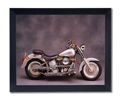 Silver Harley Davidson Fatboy Motorcycle Wall Picture Black Framed Art Print