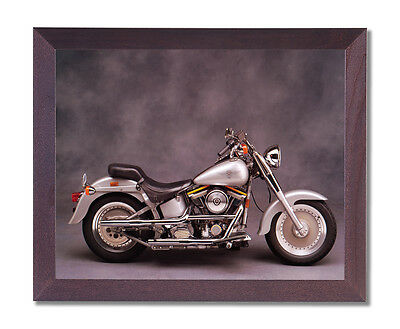 Silver Harley Davidson Fatboy Motorcycle Wall Picture Cherry Framed Art Print