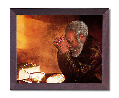 Daily Bread Black Man Praying Dinner Table Wall Picture Cherry Framed Art Print