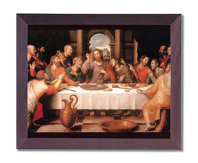 The Last Supper Jesus Christ Religious Wall Picture Cherry Framed Art Print