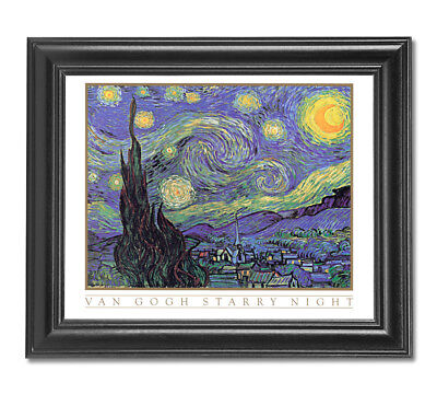 Starry Night in Town Vincent Van Gogh Wall Picture Black Framed