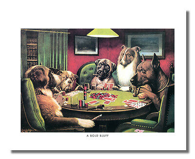 Dogs Playing Poker at Table #4 A Bold Bluff Wall Picture 8x10 Art Print