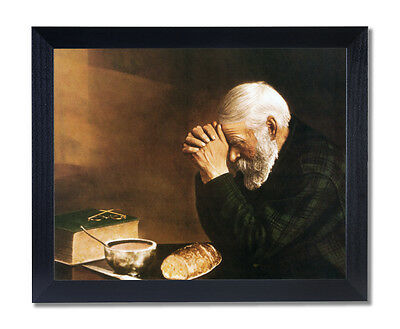 Daily Bread Man Prays Table Grace Religious Wall Picture Black Frame Art Print