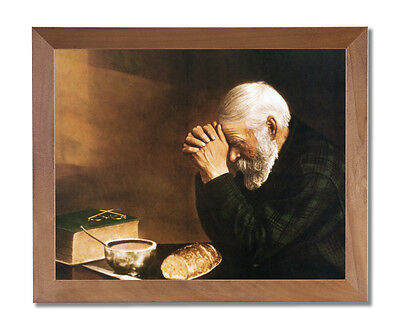 Daily Bread Man Prays Table Grace Religious Wall Picture Honey Frame Art Print