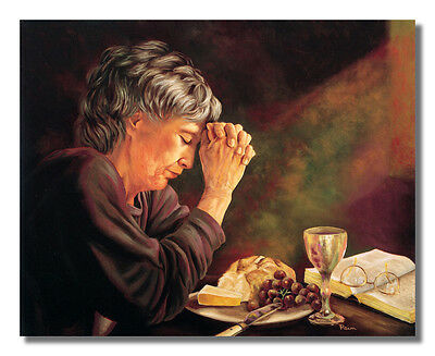 Gratitude Lady Praying Dinner Table Daily Bread Religious Wall Picture Art Print