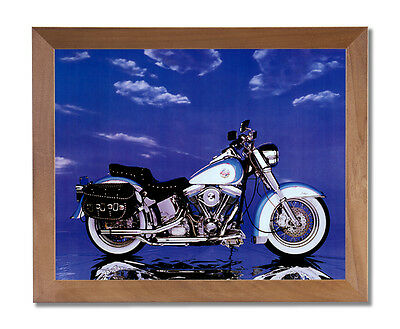 Harley Davidson Heritage Motorcycle Wall Picture Honey Framed Art Print