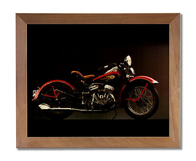 1940 Harley Davidson Motorcycle Wall Picture Honey Framed Art Print