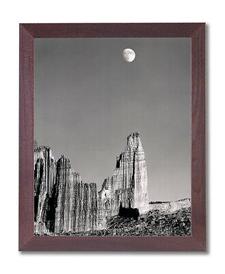 Moon Over Titan Nature Landscape Wall Picture Cherry Framed Art Print