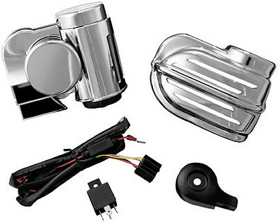 Harley FLD Switchback 12-14Super Deluxe Wolo Bad Boy Horn Kit Chrome by Kuryakyn