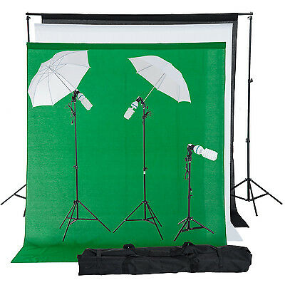 HOMCOM kit photo studio professionnel 3 toiles support 2 trépieds lampe neuf 05