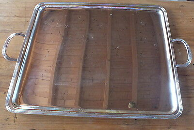 grand plateau metal argente poignees tray silver plated