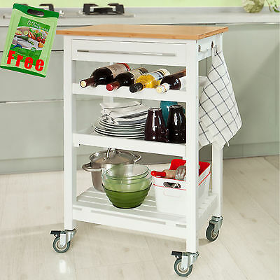 SoBuy® Kitchen Trolley Cart with Bamboo Top, FKW16-WN + Free Chopping Block, UK