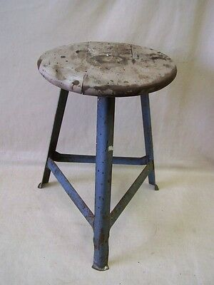 Age Workshop Stools, Designer Stool, Wood Metal Vintage Bar Stool Art Deco