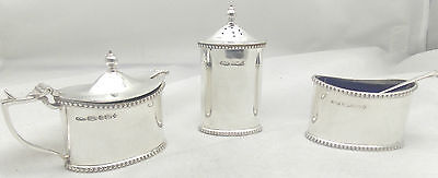 STERLING SILVER 3pc.OVAL BEADED CONDIMENT SET