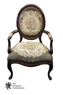 Antique Walnut Needlepoint Upholstered Balloon Back Parlor Accent Chair Seat