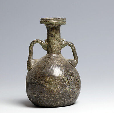 Lovely Roman twin handled glass flask.