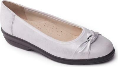 Padders FIONA Ladies Womens Leather Extra Wide Cushioned Flat Pumps Shoes Taupe