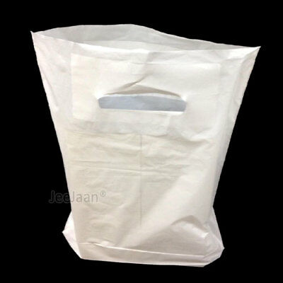 """500 Strong Plastic Carrier Bags Patch Handle WHITE 15"""" x 18"""" + 3"""" Fashion Gift"""