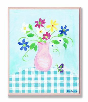 The Kids Room by Stupell Pink Vase With Flowers and Butterflies on Blue Gingham