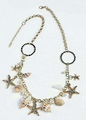 Ivory Mermaid Sea Shell Starfish Beach Necklace Costume Accessory