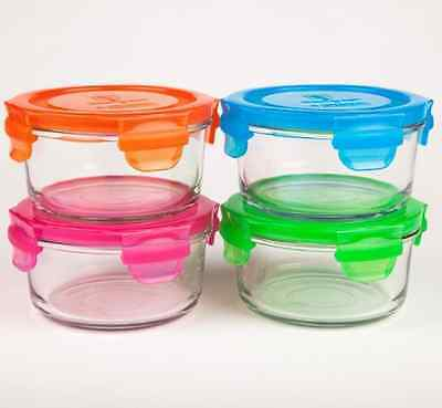 Wean Green Lunch Bowl 13oz/400ml Food Glass Containers - Multi Color Garden Set