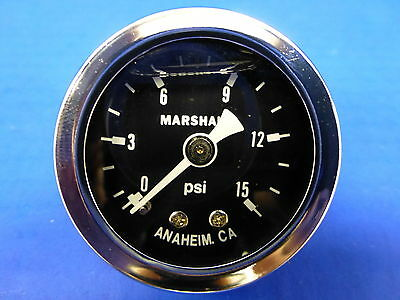 "Marshall Gauge 0-15 psi Fuel Pressure Oil Pressure  Black 1.5"" Diameter Liquid"