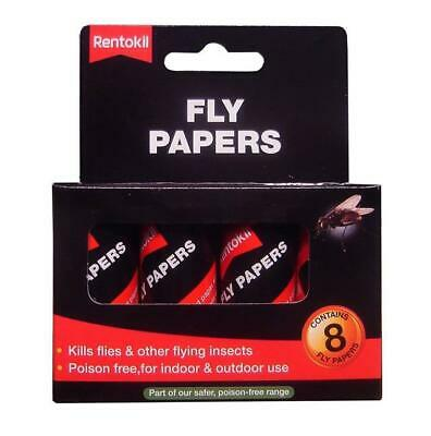 Rentokil Fly Papers 8 Pack Sticky Traps Fly Catchers Poison Free Indoor Ff89
