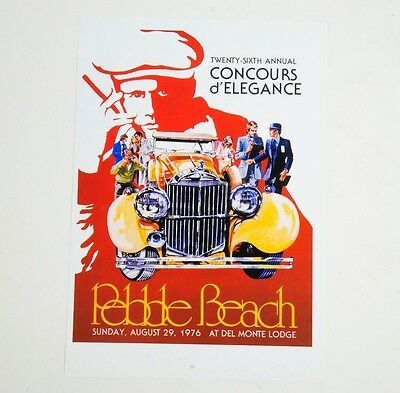 """Pebble Beach Concours d'Elegance 26th Annual Aug. 1976 Poster 9.25"""" x 13"""""""